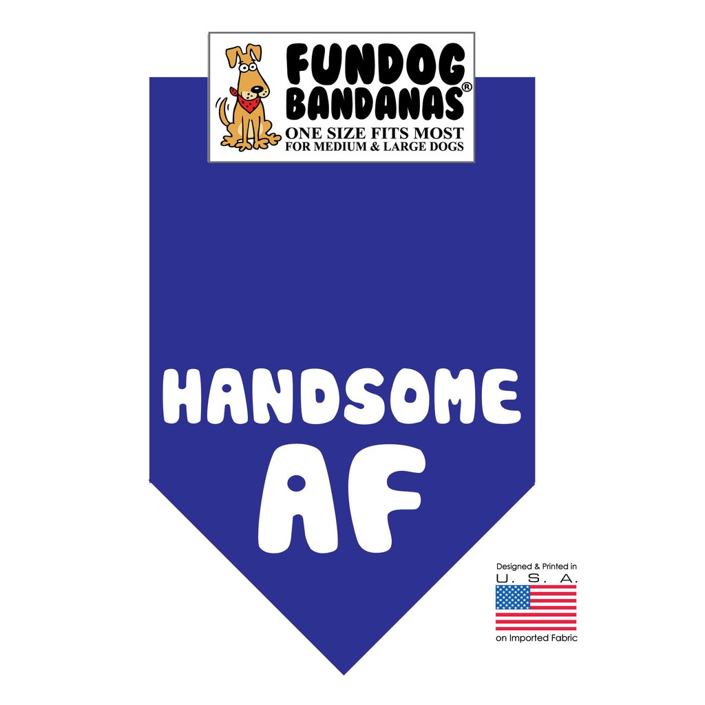 Fun Dog Bandana -Handsome AF - One Size Fits Most for Medium to Large Dogs, royal blue pet scarf