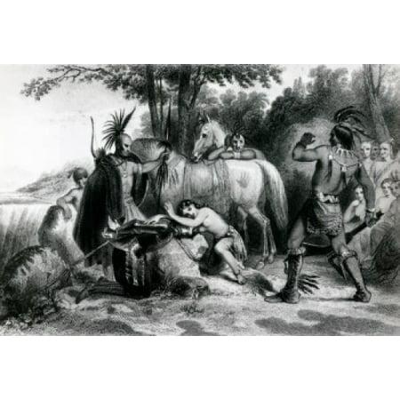 Pocahontas Rescuing Captain John Smith  illustration Canvas Art -  (24 x 36) (Pocahontas And John Smith Costumes For Adults)