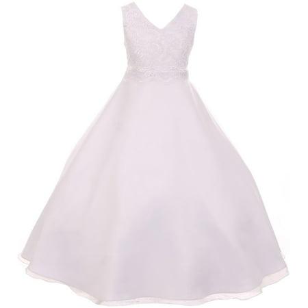 Formal Little Girl Dresses (Little Girl Elegant Lace Satin Formal First Communion Flower Girl Dress USA White 6 KD 418 BNY)