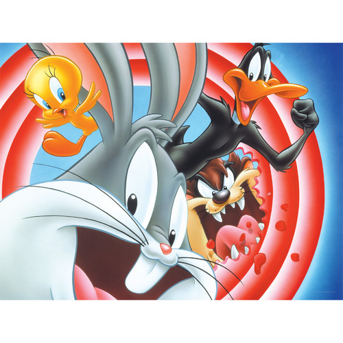 Oriental Furniture Bugs, Daffy, Taz and Tweety Looney Tunes Intro Circle Canvas Art