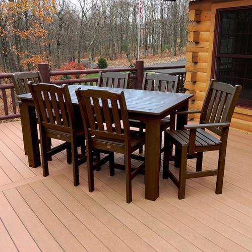 Highwood Marine-grade Synthetic Wood Lehigh 7-piece Rectangular Dining Set Weathered Acorn