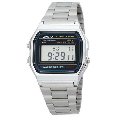 A158W-1 Men's Classic Stainless Steel Water Resistant Digital Watch