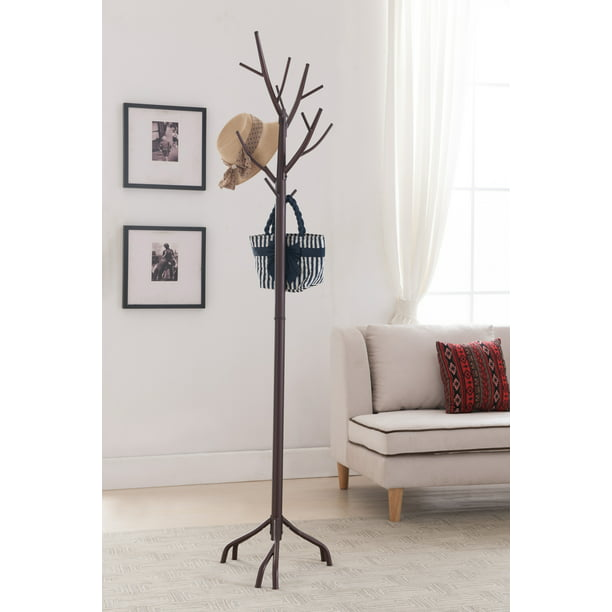 Pilaster Designs 14-Hook Coat & Hat Rack Stand With Umbrella Stand And Twig Branches, Bronze Metal