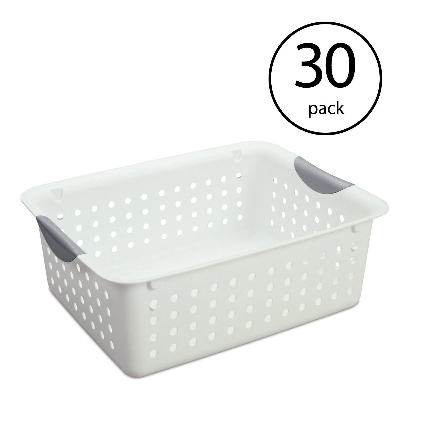 Sterilite 16248006 Medium Ultra Plastic Storage Organizer Basket White (30 Pack) - image 6 de 6