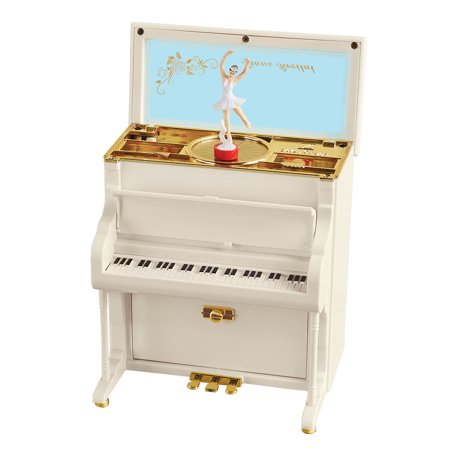Upright Piano & Ballet Dancer Music Box with Storage, Tabletop Accent with Gold Designs - Plays Fur (Gold Brocade Music Box)
