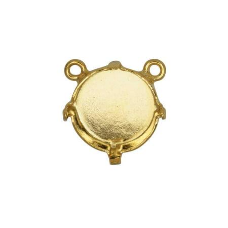 Gita Jewelry Stone Setting for Swarovski Crystal, Pendant Link Base with 2 Top Loops for 12mm Rivoli, Gold (Swarovski Crystal Fox)