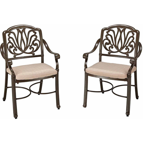 Floral Blossom Taupe Arm Chair Pair