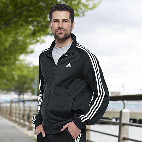 238f6b73d574 adidas men's essentials 3 stripe tricot track jacket, black/white, 3x-large