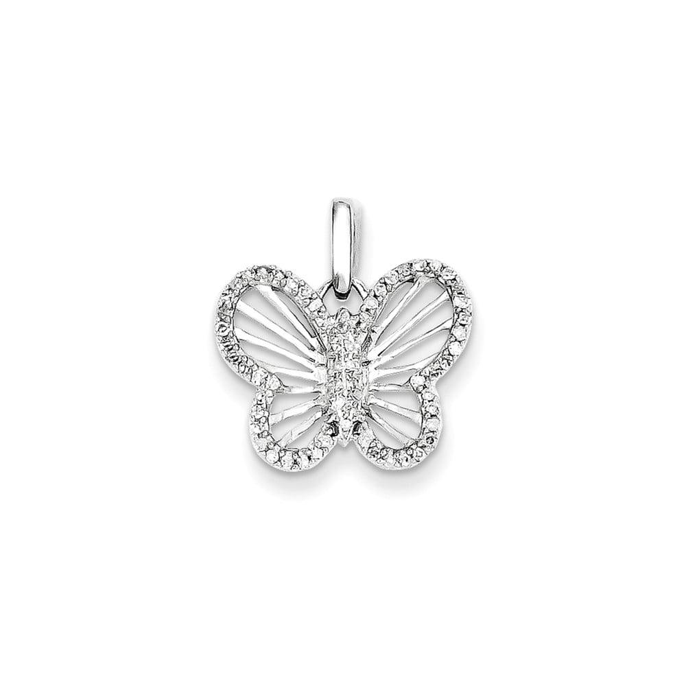 Gemaffair 14K White Gold Diamond Simple Butterfly Charm P...