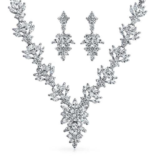 Bling Jewelry Marquise CZ Flower Leaf Bridal Necklace Dangle Earrings Set Rhodium Plated