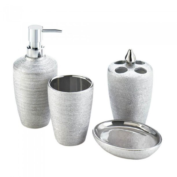 Silver Shimmer Bath Accessory Set, Silver Bathroom Accessories Set