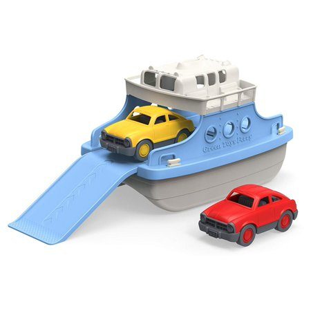 Ferry Boat with Mini Cars Bathtub Toy, Blue/White, Made in the USA from 100% recycled plastic By Green