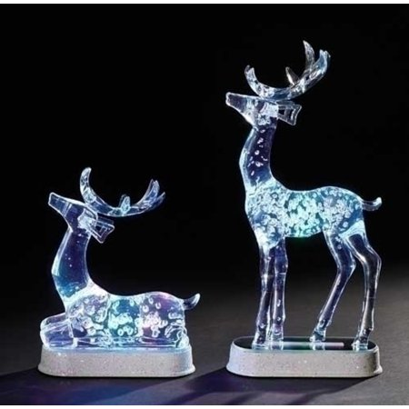 Set Of 2 Icy Crystal Led Lighted Christmas Reindeer Table