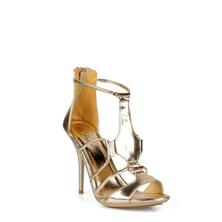 Nature Breeze Open Toe Women's Gladiator Stiletto Heels in Gold - Highest Stiletto Heels