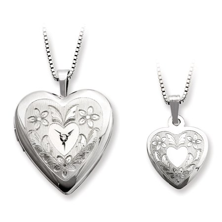 925 Sterling Silver Rhodium Plated Diamond Polished Heart Shaped Locket and Pendant Set - image 2 de 2