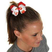 Calgary Flames Women's Double Bow - White/Red - No Size
