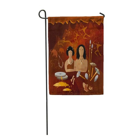 - LADDKE Stone Age Cave Man and Woman Neanderthal Family in Prehistoric Tool Neolithic Garden Flag Decorative Flag House Banner 12x18 inch