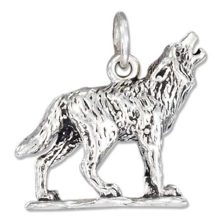 STERLING SILVER THREE DIMENSIONAL HOWLING WOLF (Sterling Silver Wolf Head Charm)