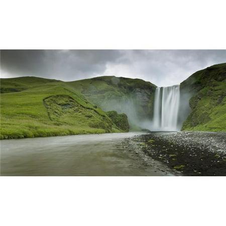 Design Pics DPI1944204 A Waterfall Over A Grassy Cliff - Skogarfoss Iceland Poster Print, 20 x 11 - image 1 of 1