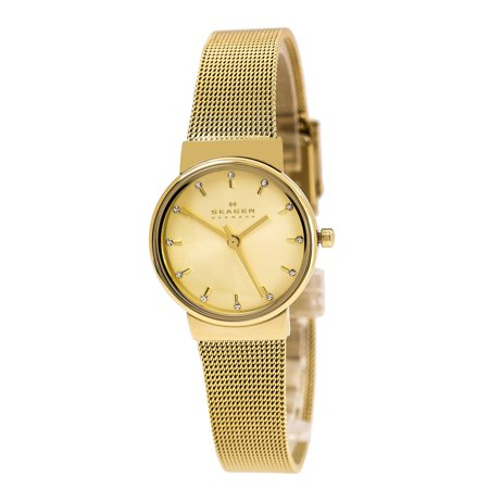 Skagen SKW2196 Women's Ancher Crystal Accented Gold Dial Yellow Gold Steel Mesh Bracelet Watch