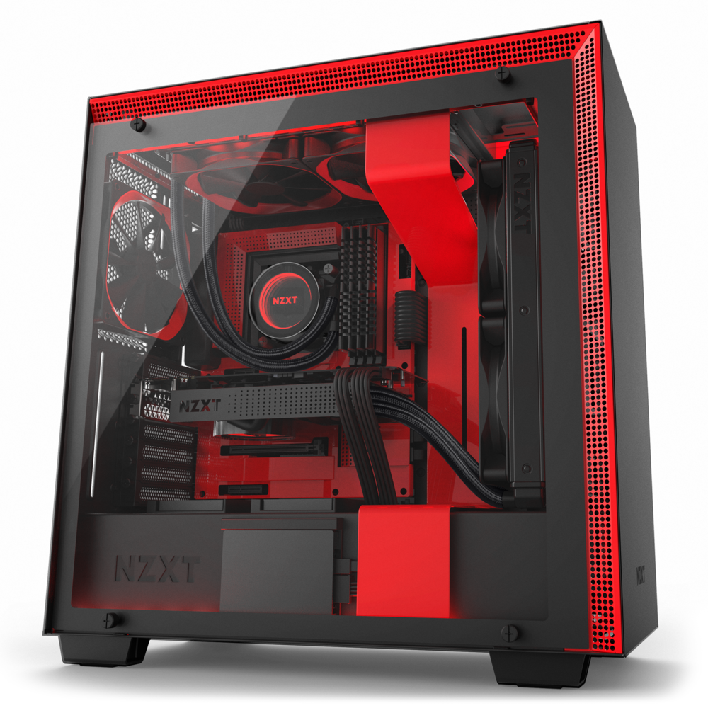 NZXT H700 ATX Computer Case Matte Black+Red