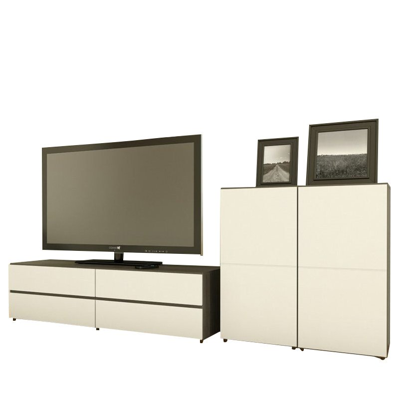Nexera Allure 3-Piece Entertainment Center in Ebony and White - image 1 of 2