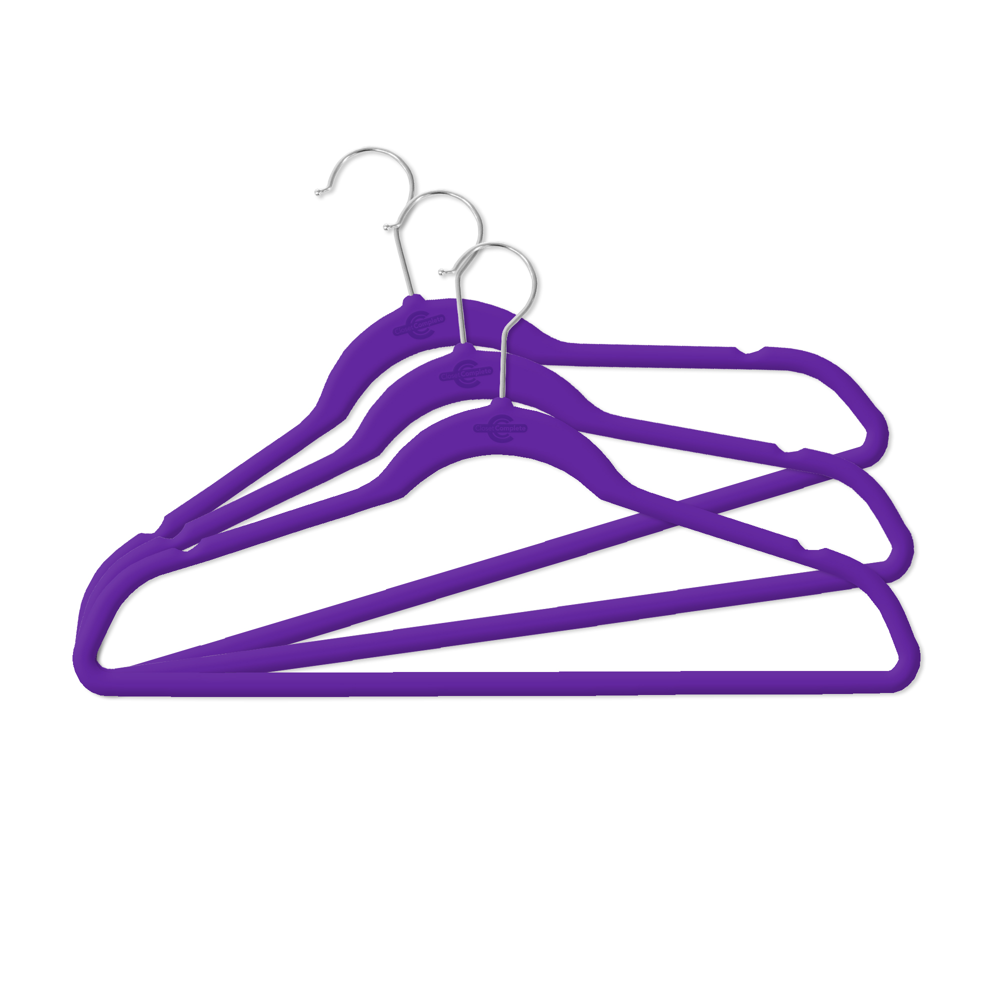 Closet Complete 50 Pack Velvet Hangers; Purple with chrome hook