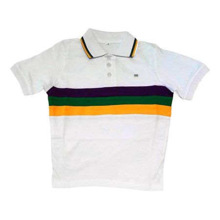 Child Medium Mardi Gras Rugby White Purple Green Yellow Knit SS Shirt - Mardigras Outfits