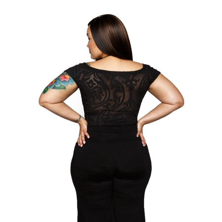 49513e0e0c5 Xehar - Xehar Women s Plus Size Damask Illusion Short Sleeve Bodysuit  Playsuit - Walmart.com
