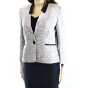 Kasper NEW Black Textured Tweed Women's 16 Single Button Blazer Jacket $119