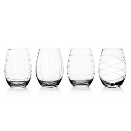 Fifth Avenue Crystal 17-Ounce Medallion Stemless Wine Goblets - Set of 4 (Fifth Avenue Crystal Aurora)