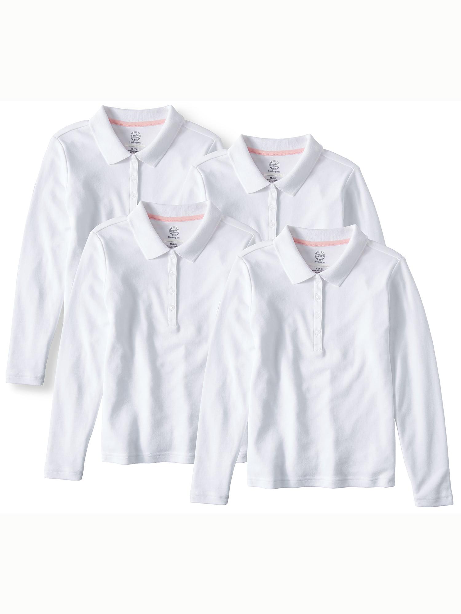 Wonder Nation Girls School Uniform Long Sleeve Interlock Polo, 4-Pack Value Bundle