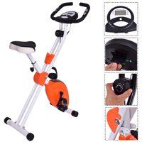 Costway Folding Magnetic Exercise Bike LCD Display 3.5lbs Resistance Adjustable