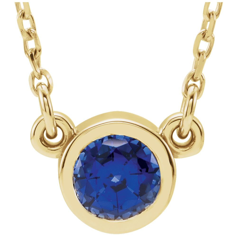 14k Yellow Gold 4mm Sapphire Polished White Sapphire Necklace by