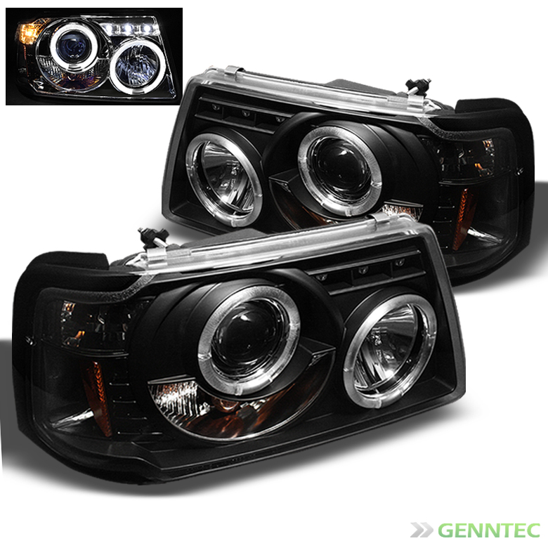 2001-2011 Ford Ranger Dual Halo LED Projector Headlights Black Head Lights Lamp Pair L+R 2002 2003 2004 2005 2006 2007