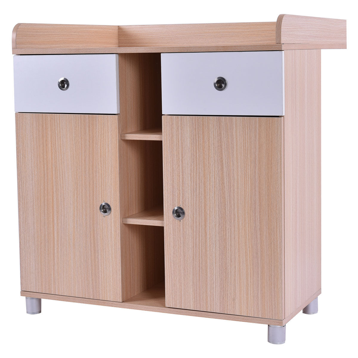 Costway Baby Changing Table Nursery Diaper Station Dresser Infant Storage Drawer 2 Doors