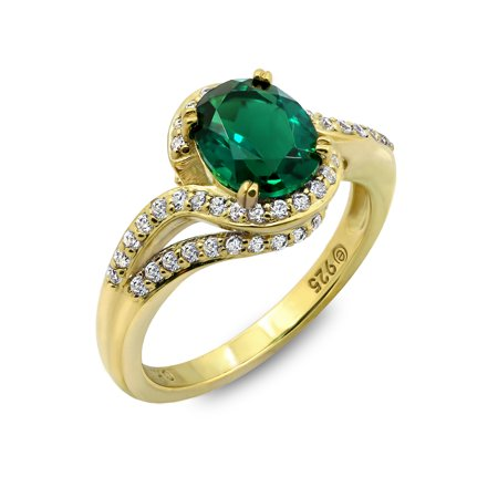 Gemour Yellow Gold Plated Sterling Silver Synthetic Emerald Oval Swarovski Zirconia Bypass Ring, Size 8 ()