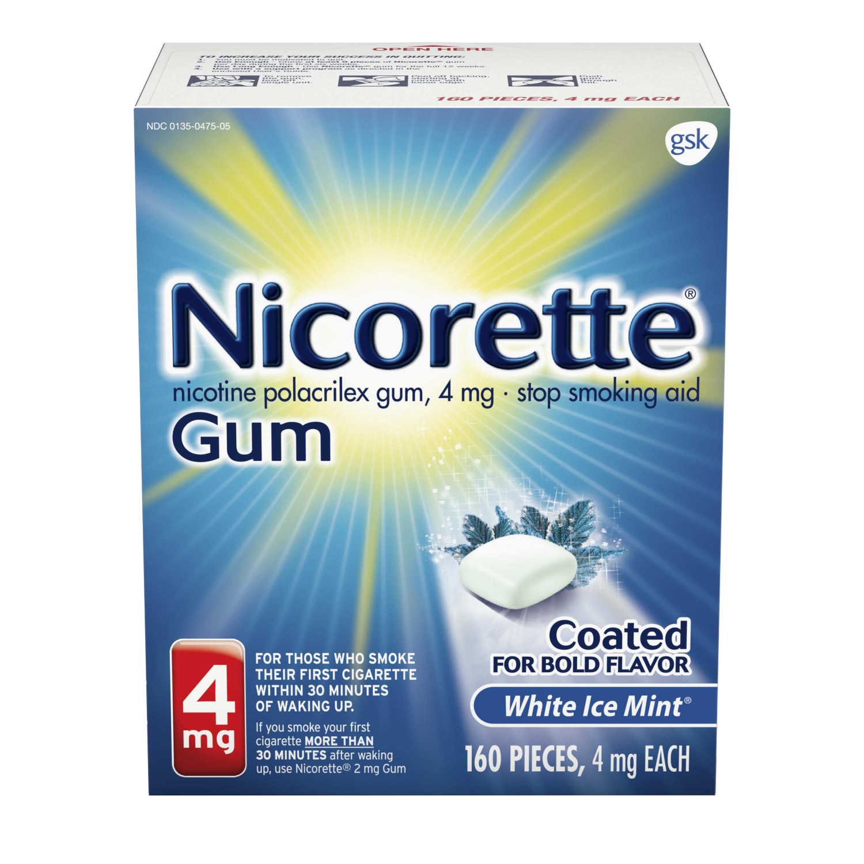 Nicorette Nicotine Gum to Stop Smoking, 4mg, White Ice Mint, 160 count