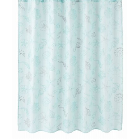 Oceanside Sea Shells Green Fabric Shower Curtain - Bath Decor