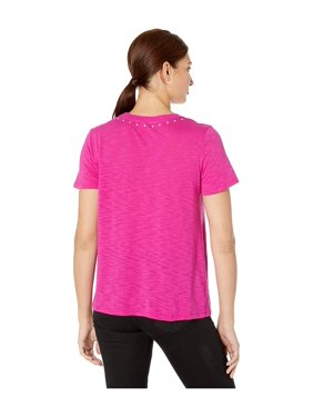 Vince Camuto Short Sleeve Studded Crew Neck Tee Pink Shock