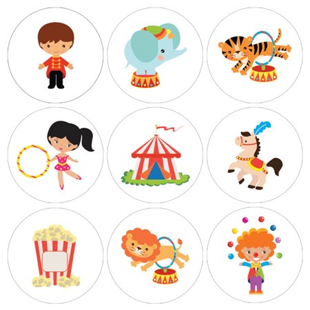 Circus Theme Decorations (Circus Party Favor Candy Stickers, 216ct - Circus Theme Birthday Party Supplies Decorations Carnival Birthday Party Favors - 216 Count)