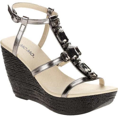 Mo Mo Women's Misty Ankle T-Strap Rhinestone Platform Wedge Sandal