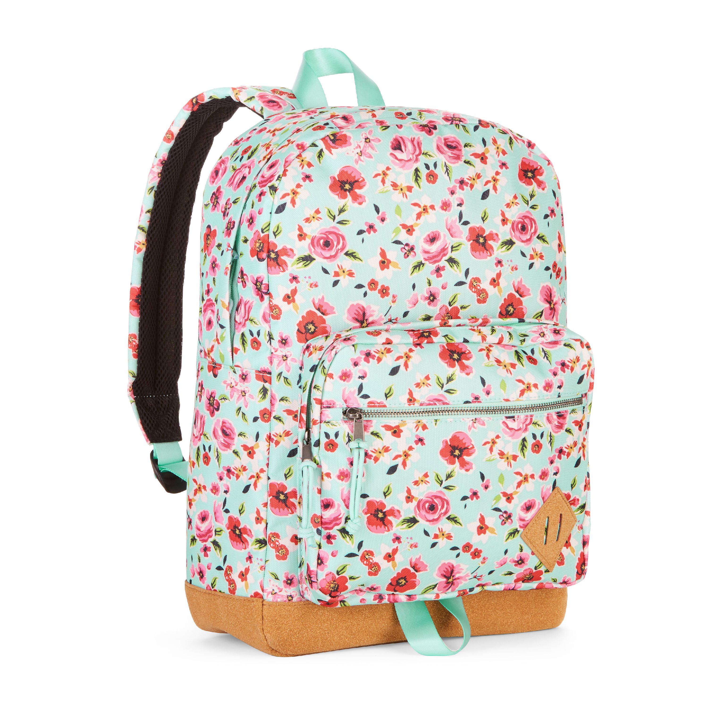 No Boundaries Mist Mint Floral Suede Bottom Backpack