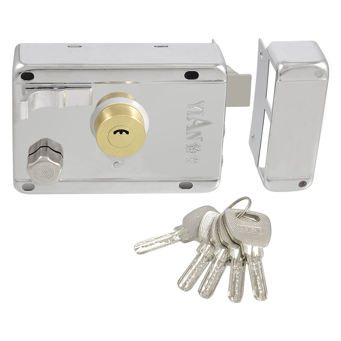 Unique Bargains Office House Security Gate Door Double Bolt Rim Lock Set w Keys