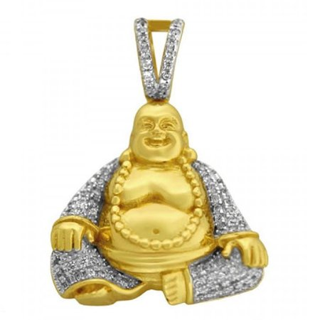 14k Yellow Gold Buddha Charm (10K Yellow Gold On Real Italian Sterling Silver 3D Laughing Prosperity Buddha Simulated Diamonds Pave Pendant Charm 1.35'')