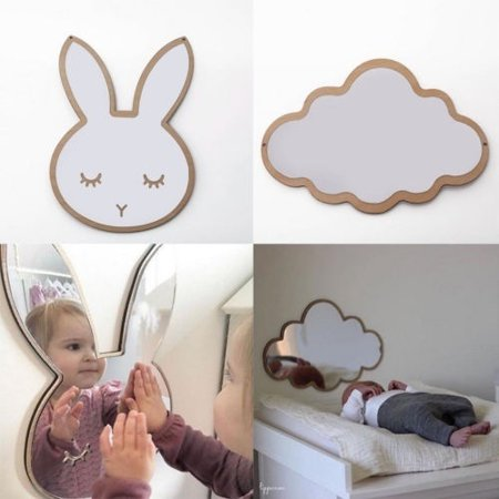Easter Wall Decorations (Baby Room Easter Decor Wall Sticker Kid's Bedroom Mirror Decoration Clouds Bunny Rabbit Wall Mirrors)