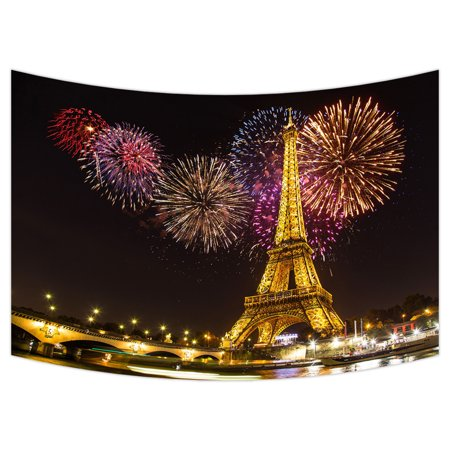 YKCG Paris Eiffel Tower Light Performance City Landscape Fireworks Wall Hanging Tapestry Wall Art 90x60 inches