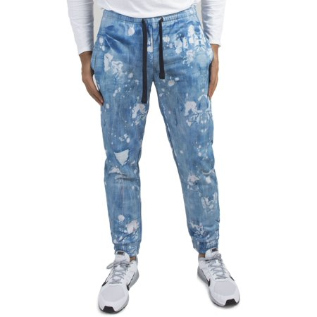 Vibes Men's Fleece Jogger Sweatpants Painter Distressed Denim Printed Elastic Cuff (Denin Jogger)