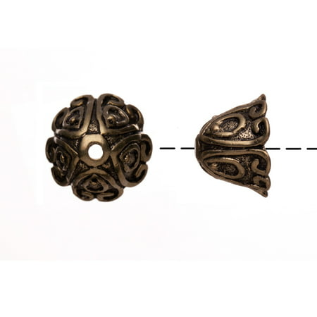 Bell Shape Curly Filigree Patterned Antique Copper-Plated Bead Cap/Cord End Fits 15-17mm Beads 15x15mm pack of 6pcs (2-Pack Value Bundle), SAVE $1 (Filigree Bread)
