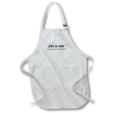 3dRose Im a Dad - Whats your Superpower - funny gift for fathers day, Full Length Apron, 22 by 30-inch, White, With Pockets